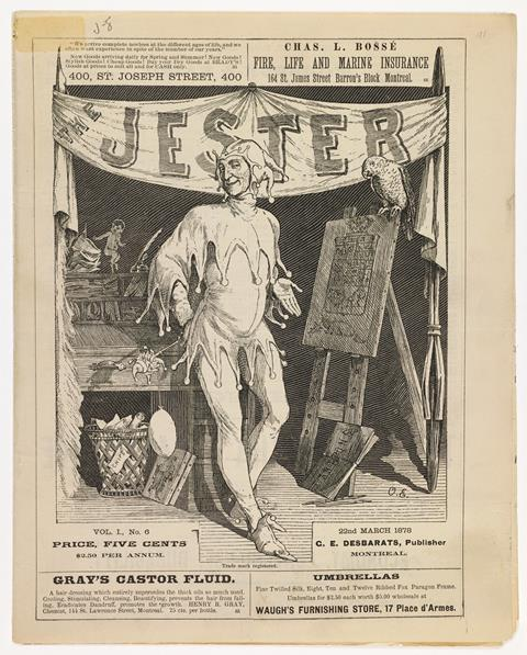 The Jester,Montréal, G.E. Desbarats et F.J. Hamilton, 22 march 1878, page 1.