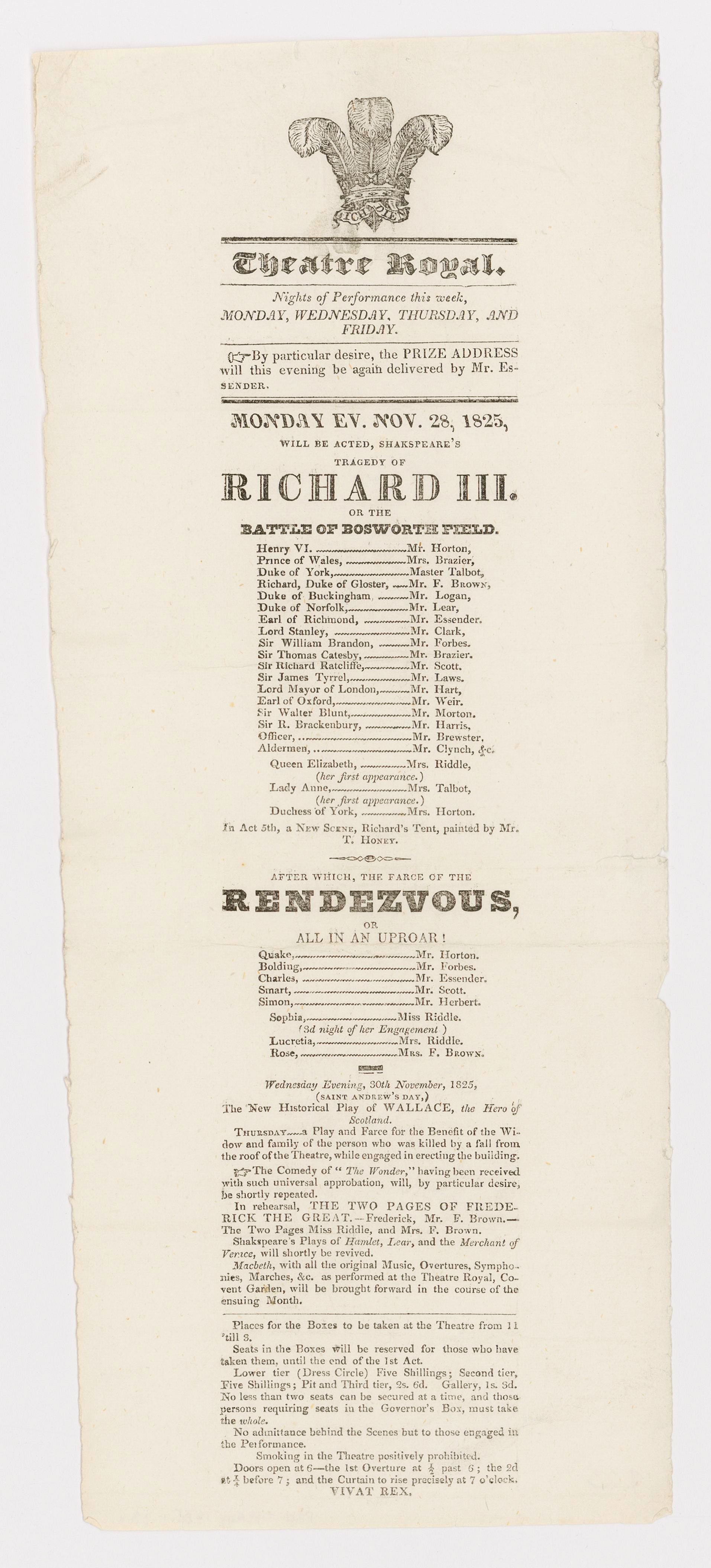Richard III or the Battle of Bosworth Field [de William Shakespeare], after which, the farce of the Rendez-vous, or all in an uproar!, programme de spectacle, 35 x 14 cm, Montréal, Theatre Royal, 1825.