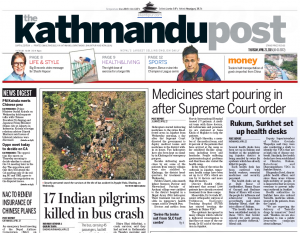 Une du Kathmandu Post, un journal disponible dans PressDisplay