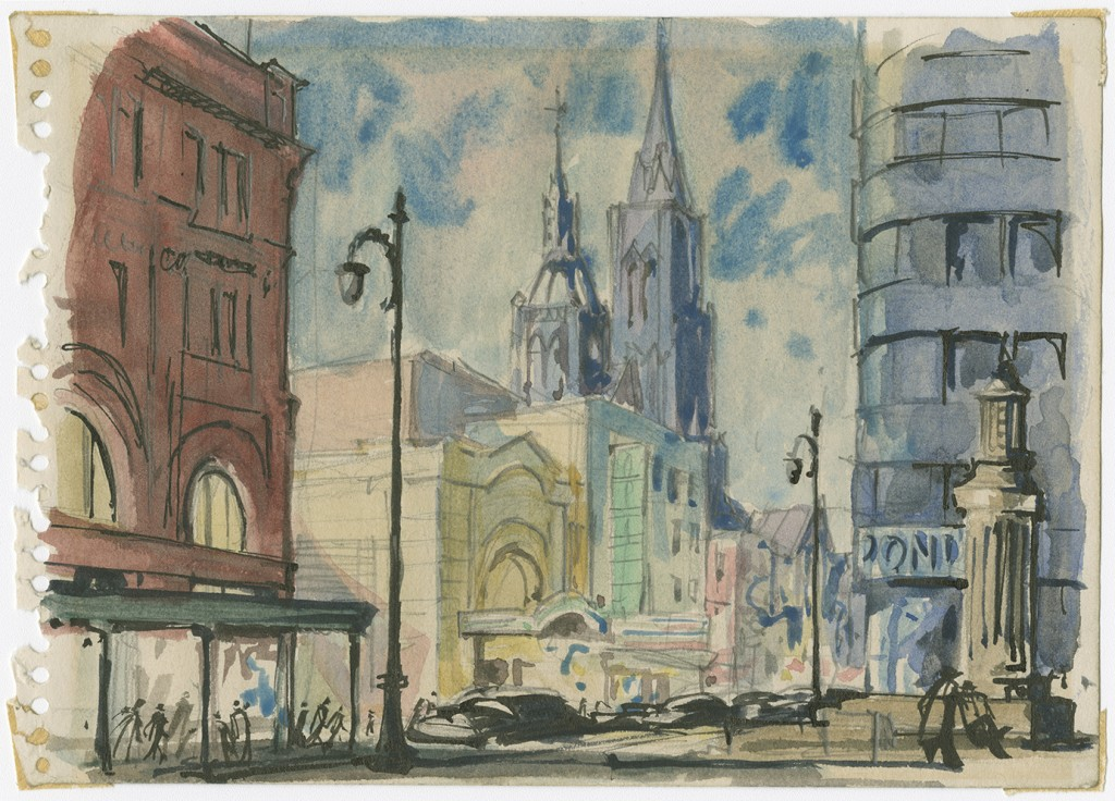 Magasin Morgan (devenu La Baie), Square Phillips et Église unie Saint-James, [1954]. BAnQ Vieux-Montréal (P825, S2, SS2).
