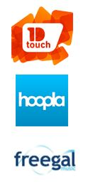 Logos de 1D touch, Hoopla et Freegal.