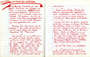 Manuscrit du roman «Architecte des sentiments» de Claude Beausoleil, 1995.