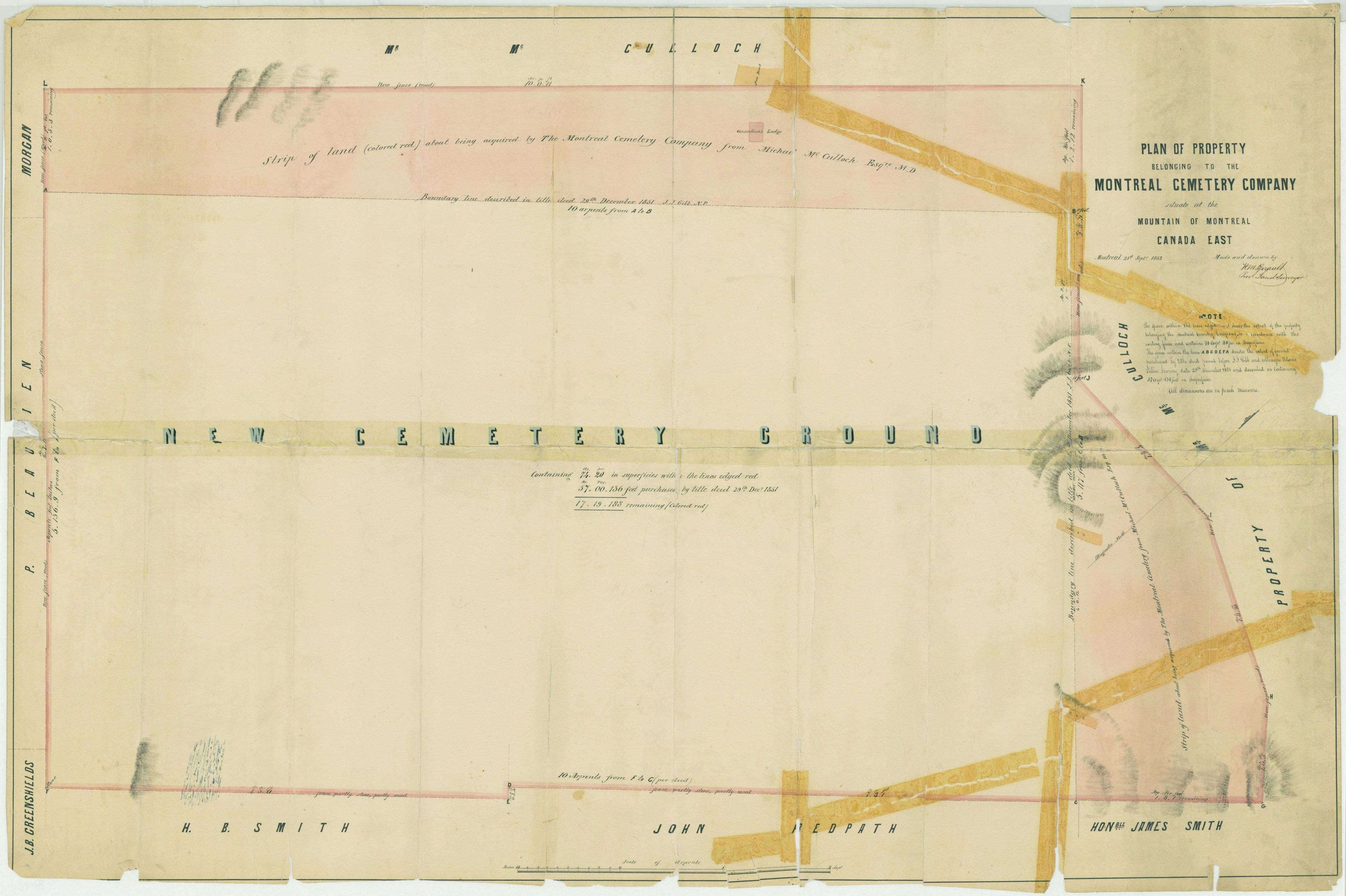 Plan of property belonging to the Montreal Cemetery Company situate at the Mountain of Montreal Canada East _03