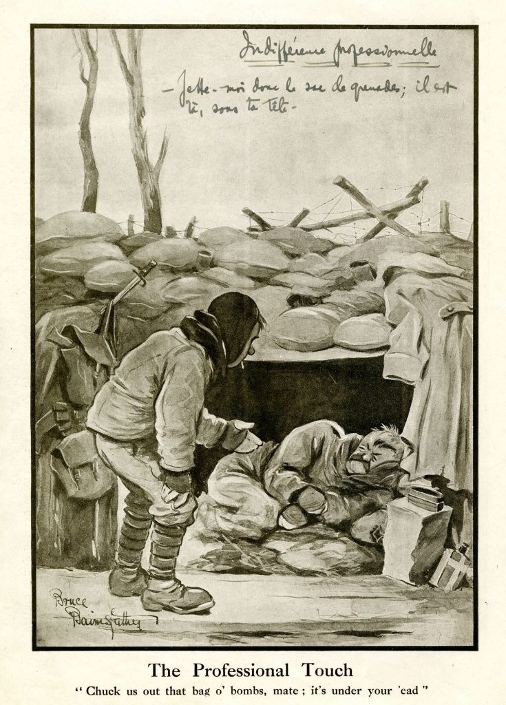 Caricature. More Fragments from France n 2 .1916. BAnQ Vieux-Montréal (CLG72). Auteur : Bruce Bairnsfather.